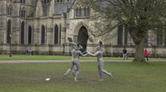 Salisbury Cathedral park modern rabbit sculpture 4K Stock Footage