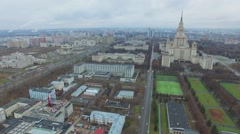 Cityscape with traffic not far from Moscow University at autumn Stock Footage