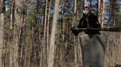 Baba Yaga Flying in the Forest. Show in Costume of Baba Yaga. Stock Footage