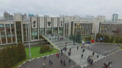 Cityscape with traffic on streets near MGIMO at autumn cloudy day. Stock Footage