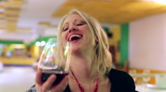 woman flirting and drinking - stock footage