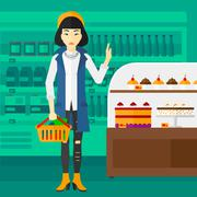 Woman holding supermarket basket - stock illustration