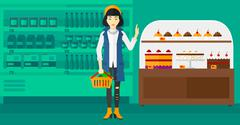 Woman holding supermarket basket - stock illustration