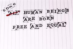 All human beings are born free and equal text on paper in retro style Stock Photos