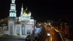 Cathedral Mosque with illumination at autumn evening. Aerial view Stock Footage