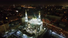 Edifice of Cathedral Mosque with illumination at autumn evening. Stock Footage