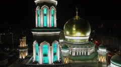 Roof of Cathedral Mosque with minarets and cupola at autumn evening Stock Footage