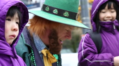 Leprechaun with two cute little girls Stock Footage
