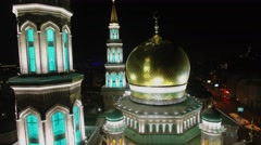 Edifice of Cathedral Mosque with crescents on minarets and cupola Stock Footage