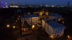 Cathedral of Holy Virgin on Izmailovsky island and megalopolis - stock footage