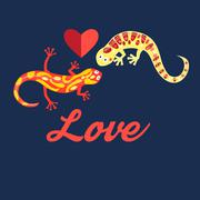 Graphic beautiful lovers salamanders Stock Illustration