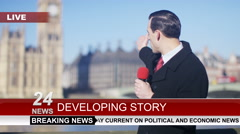 Stock Video Footage of 4K News reporter doing live piece to camera outdoors in the city of London