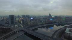 City panorama with transport traffic on Novoarbatsky bridge Stock Footage
