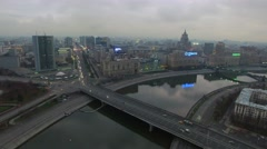 Cityscape with transport traffic on Novoarbatsky bridge at autumn Stock Footage