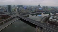 Transport traffic on Novoarbatsky bridge at autumn evening. Stock Footage