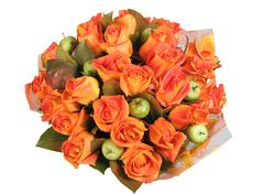 Flower Arrangement, floral  bunch with orange roses and green apples. - stock photo