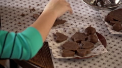 Workshop in chocolate manufacture. Close up. Slow motion Stock Footage