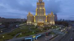 Square among roads near edifice of Radisson hotel Ukraine Stock Footage