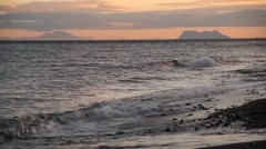 Gibraltar rock at sunset, UK, view from Spain, Estepona, sea Stock Footage
