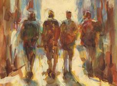 Walking people handmade  painting - stock illustration