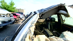Damaged car in consequence of flooding - stock footage