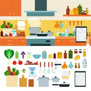 Cooking at home using online recipes app Stock Illustration