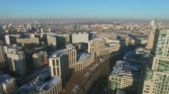 Megalopolis with Saharova street traffic at winter sunny day Stock Footage