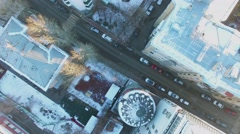 Panorama of Mashkova street at winter day. Aerial view Stock Footage