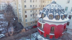 House in shape of egg on Mashkova street at winter day Stock Footage