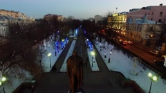 Chistoprudniy boulevard with monument of A.S.Griboedov Stock Footage