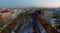 Cityscape with car traffic on Chistoprudniy boulevard at winter Stock Footage