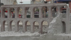 Roman Stadium Miniature Detail in Plovdiv with City in The Background Stock Footage