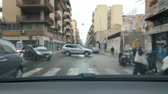 Driving on Via Oreto with shops in Palermo, Sicily. Stock Footage
