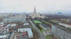 Edifice of Moscow University named by Lomonosov and cityscape Stock Footage