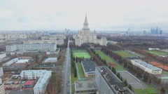 Megalopolis with edifice of Moscow University at autumn cloudy day. - stock footage
