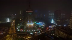 Street traffic near Oriental Pearl TV Tower on shore of Hanghan river Stock Footage