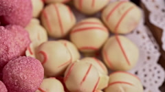 Wide range of delicious multicolor candies. Close up Stock Footage
