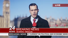 4K News reporter doing live piece to camera outdoors in the city of London Stock Footage