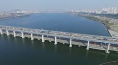 Transport traffic on Banpodaegyo bridge and megalopolis - stock footage