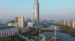 Lotte World amusement park on pond near skyscraper Lotte Tower Stock Footage