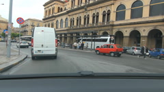 Driving past train station in Palermo, Sicily. Stock Footage
