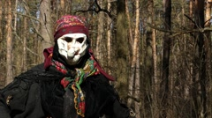 Face Mask of Costume Baba Yaga. Action in the Forest. - stock footage