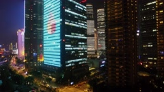 Tancheng Yipin skyscrapers and Citi Group Tower with illumination Stock Footage