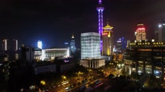 Cityscape with skyscrapers and Oriental Pearl TV Tower Stock Footage