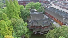 Townscape with Yuyuan Garden at autumn day. Aerial view Stock Footage
