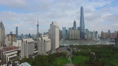 Cityscape with many skyscrapers on shore of Hanghan river Stock Footage