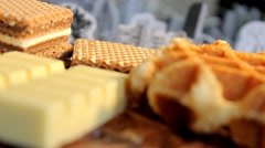 Focus - Waffles - Chocolate - Nuts 03 Stock Footage