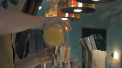 Bartender adding syrup in a cocktail in the bar, 4k Stock Footage