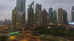 City panorama with skyscrapers and Oriental Pearl TV Tower Stock Footage