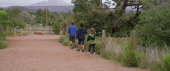 Slow Motion Children Walk in Single File Line on Scenic Hike Stock Footage